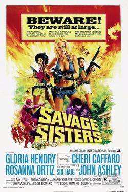 SAVAGE SISTERS, US poster, from left: Gloria Hendry, Cheri Caffaro,  Rosanna Ortiz, 1974.
