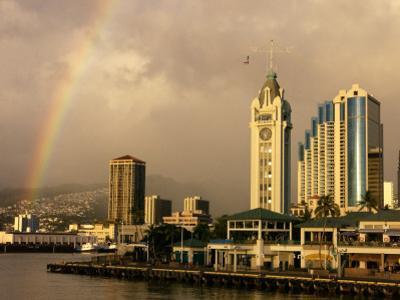 Rainbow Over Honolulu, Hawaii, USA