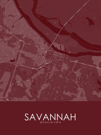 Savannah, United States of America Red Map