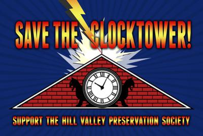 Save the Clocktower Movie Plastic Sign