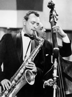 Saxophone Player Jimmy Giuffre at International Jazz Festival February 20, 1960