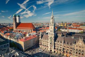 Aerial View of Munchen: Marienplatz, New Town Hall and Frauenkirche by sborisov