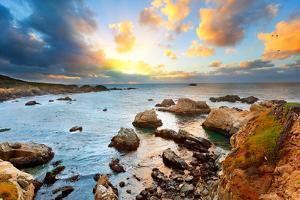 Big Sur Pacific Ocean Coast at Sunset by sborisov
