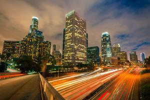 Downtown of Los Angeles at Night by sborisov