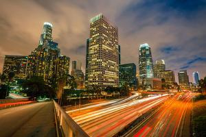 Downtown of Los Angeles at Night by sborisov
