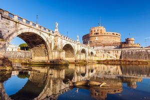 Saint Angel Castle and Bridge over the Tiber River in Rome by sborisov