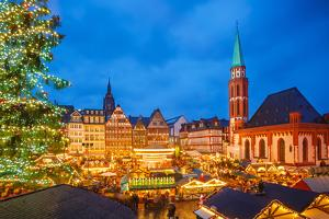 Traditional Christmas Market in Frankfurt, Germany by sborisov
