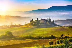Tuscany Foggy Landscape at Sunrise, Italy by sborisov