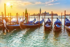 Venetian Gondolas at Sunrise, Venice, Italy by sborisov
