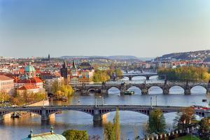 View on Prague Bridges at Sunset by sborisov