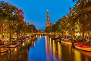 Western Church on Prinsengracht Canal in Amsterdam by sborisov