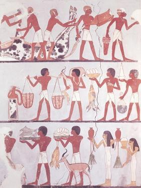 Scene of Butchers and Servants Bringing Offerings, from the Tomb of Onsou, circa 1375 BC