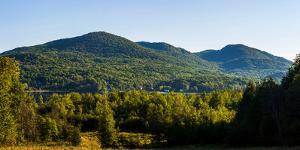 Scenic view of mountain range, Bromont, Quebec, Canada