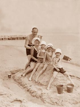 Family Vacation at the Beach on the Baltic Sea, 1930 by Scherl S?ddeutsche Zeitung Photo