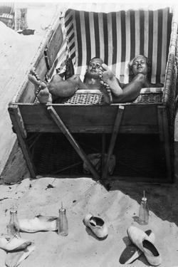 Sunbathing in a Beach Chair, 1933 by Scherl S?ddeutsche Zeitung Photo