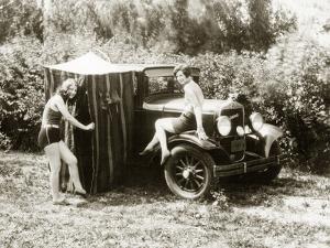 Charlotte and Dorothy Wade with Bath Tent, 1931 by Scherl Süddeutsche Zeitung Photo