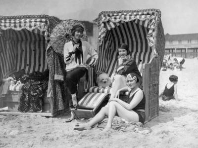 Elisabeth Pinagreff, Agnes Esterhazy and Hanna Weiss in a Beach Chairs, 1927 by Scherl Süddeutsche Zeitung Photo