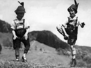 Two Boys Performing Schuhplattln, 1933 by Scherl Süddeutsche Zeitung Photo