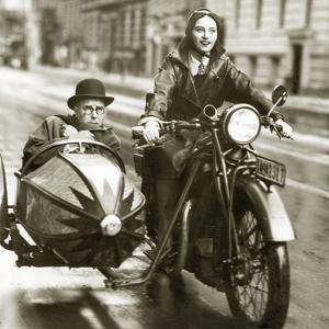 Wilhelm Bendow in a Sidecar, 1930 by Scherl Süddeutsche Zeitung Photo