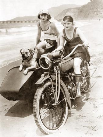 Women Drive a Motorcycle with a Sidecar, 1930 by Scherl Süddeutsche Zeitung Photo