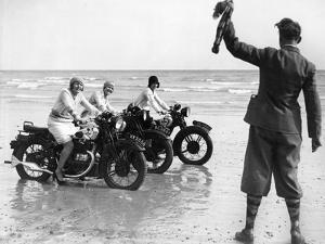 Women Racing Motorcycle Race, 1930 by Scherl Süddeutsche Zeitung Photo
