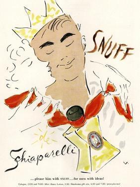 Schiaparelli Snuff, Mens Fragrance Cologne, USA, 1950
