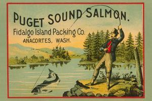 Puget Sound Salmon - on the Fly by Schmidt Lithograph Co