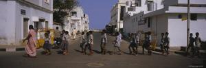 School Children Crossing the Road, Pondicherry, India