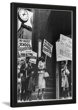 School Segregation Protest (Protesters with Signs) Art Poster Print