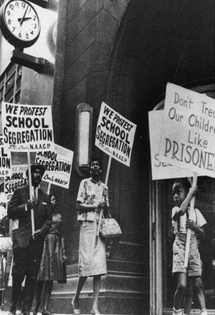 School Segregation Protestors Archival Photo Poster