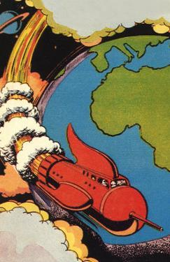 Sci Fi - Red Rocket Ship with Earth, 1946