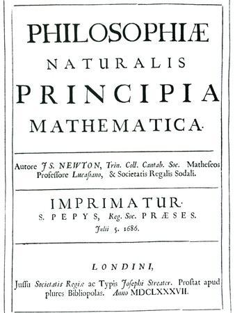 Frontispiece of 1st Edition of Newton's Great Work