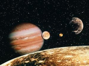 Jupiter And the Galilean Moons Seen From Callisto by Science Photo Library