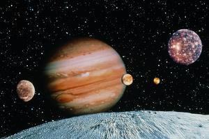 Jupiter And the Galilean Moons Seen From Leda by Science Photo Library