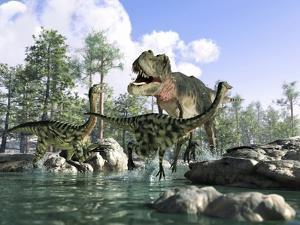 Tyrannosaurus Rex Hunting, Artwork by Science Photo Library - LEONELLO CALVETTI