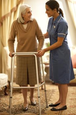 Senior Woman with Walking Frame by Science Photo Library