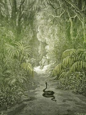 Adam and Eve and Snake by Dore by Science Source