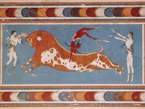 Bull-Leaping Fresco from Minoan Culture by Science Source
