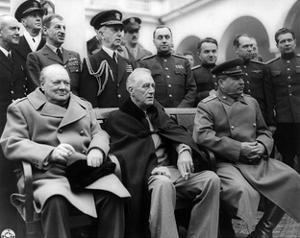 Churchill, Roosevelt and Stalin at Yalta, 1945 by Science Source