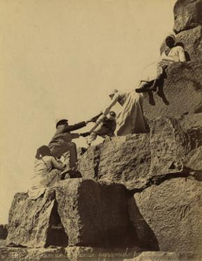 Climbing the Great Pyramid of Giza, 19th Century by Science Source