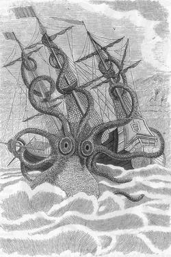 Colossal Octopus Attacking Ship, 1801 by Science Source