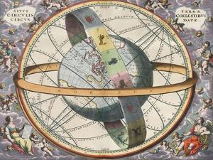 Earth with Celestial Circles, Harmonia Macrocosmica, 1660 by Science Source