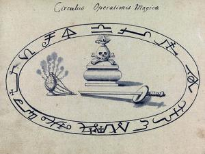 Magic Circle, Cabbalistic Symbols, 18th Century by Science Source