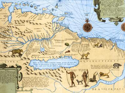 Map of El Dorado and the Amazon, 16th Century by Science Source