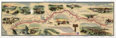 Map of Pony Express Route, 1860-1861 by Science Source