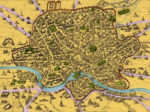 Map of Rome, 1500s by Science Source