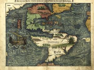 Map of the Americas, 1550 by Science Source
