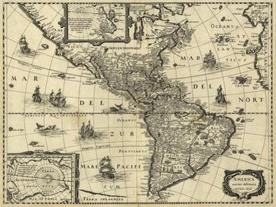 Map of the Americas, 1640 by Science Source