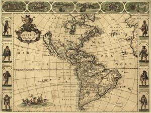 Map of the Americas, 1660 by Science Source