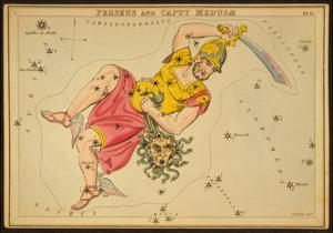 Perseus and Caput Medusae Constellations, 1825 by Science Source